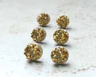 Set of 4 Yellow Gold Bridesmaids Earrings, 4 Pairs with Gift Boxes, Tiny Gold Faux Druzy Earrings, Small  8mm Round Studs Wedding Jewelry