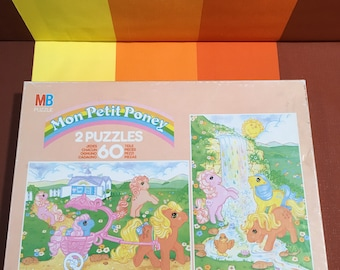 Vintage My Little Pony Mon Petit Poney Puzzle Two In One Set 60 Pieces MB Puzzles 1985