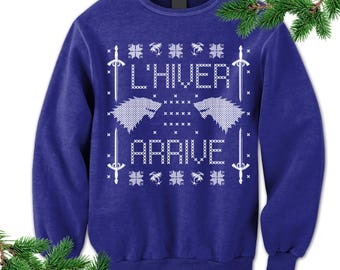 Winter Holiday Sweater. L'hiver arrive. French Winter Is Coming Sweatshirt. Game of Thrones Sweater. Wolf. Sword. Gift. Ugly Sweater. Party.