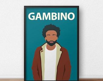 Childish Gambino / Donald Glover Poster Print // Wall Art, Portrait, Colourful, Minimalist, Music, Hip Hop, Atlanta, Community, Home Decor