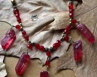 Rose Aura Quartz Points Necklace