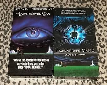 "Lawnmower Man & Lawnmower Man 2 ""Jobe's War"" [VHS] Horror VHS Lot of 2 Tapes Cult Horror Movie 90s Kitsch VHS Tapes Sci Fi Cult Horror Tapes"