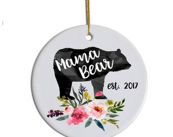 Mama Bear Ornament, New Mom Ornament, Custom Ornament, Mom Ornament, Mom Christmas Gift, Pregnancy Announcement Ornament, Mom Xmas Ornament
