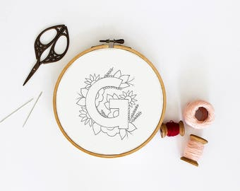 Letter G Embroidery Pattern, Floral Embroidery Pattern, PDF Embroidery Pattern, Initials Embroidery Pattern, Embroidery Design PDF Download