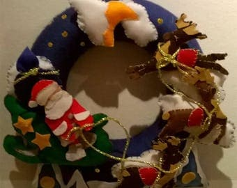 Garland Santa Claus with sleigh and reindeer