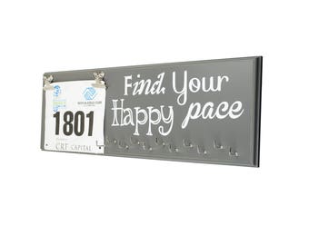 """Race Medal and Bib Holder Display, Beautiful Wood Sign, Wall Mounted, 22"""" x 7"""", 11 Hooks, Holds Up to 30+ Medals, Find Your Happy Pace"""