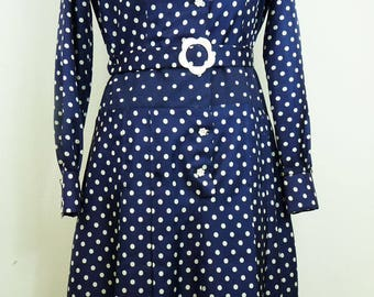 Vintage 1960's dress Navy Blue with white dots T44