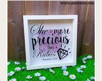 Bible Verse Scripture Box Frame Proverbs 31.10