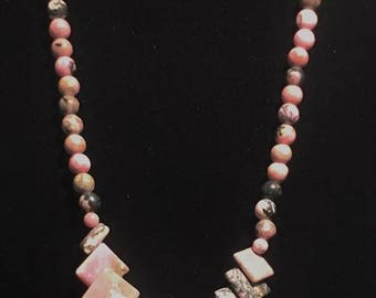"Pink Rhodonite Necklace - 18"""