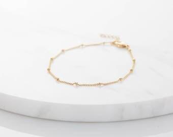 Gold Satellite Chain Bracelet, Silver Bracelet, Rose Gold Chain Bracelet, Dainty Chain Bracelet, Layering Bracelet, Gift for Woman