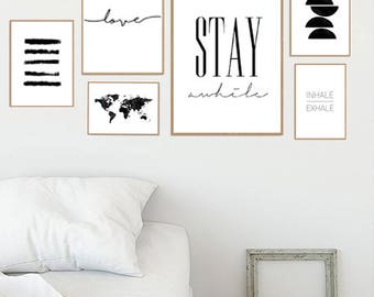 Gallery wall set, stay awhile sign, set of 6 prints, gallery wall prints, Printable wall decor, poster set, inhale exhale, gallery wall art,