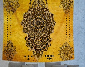Yellow Mandala tapestry,Psychedelic Tapestry,Bohemian tapestry,Hippie tapestry,Boho wall decor,Mustard tapestry,ethnic tapestry,indian decor