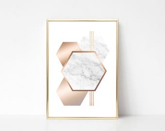 4 Hexagons Printable Art,Printable Wall Art Print,Geometric Style Print,Marble Effect Print,Marble Rose Gold Print,Instant Download