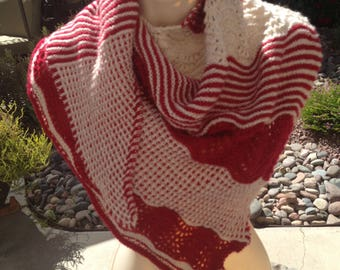 "Unique One of a Kind Hand Knit ""Candy Cane Lane""  Get Ready for the Season with this pretty red  and beige beige shawl."