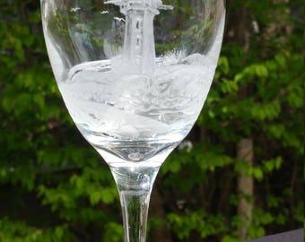 Lighthouse Scenery on a Wine Glass
