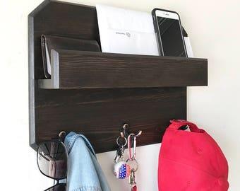 Woodymood Lovely Wall Organizer Shelf, Key Rack ,Coat Hooks, Mail Holder , Dark Brown