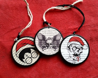 Custom Bookpage Christmas Ornaments- Wooden Christmas Ornaments