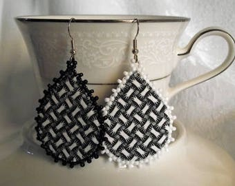 Black and White Teardrop Earrings, textile jewerly, OOAK, eco friendly, fabric, beaded.