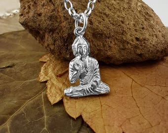 Sterling Silver English Handmade Young Buddha Pendant and Chain, Wonderful Details