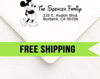 Custom Return Address Stamp-Self Inking-Personalized Stamp-Disney-Mickey-Mickey Mouse-Rubber Stamp