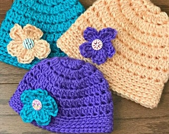 Crochet Baby Hat - Set of 3 Hats, Baby Girl Hat, Newborn Hat, Baby Girl, Coming Home Outfit, Hat with Flower, Baby Shower Gift, Newborn Prop
