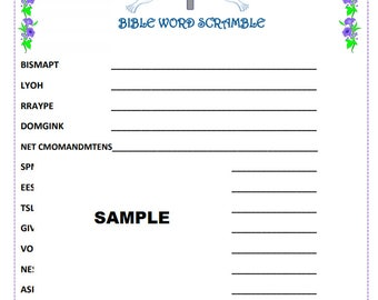 CHRISTIAN BIBLE Word Game -Fun for Bible Study or Youth Group Activity. Print and Play as Many as You Need! Answer Key Included.