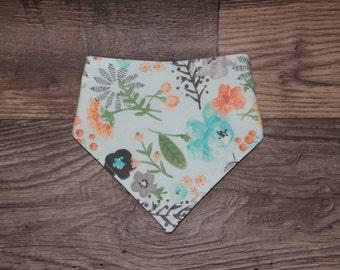 Girl Bandana Bib   Floral   Whimsical   Bibdana   Teething   Baby   Drool Bib   Perfect Gift   Handmade in Canada