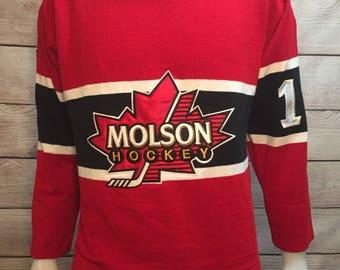 Vintage Dehen Sweater Molson Hockey Jersey Sweater Canadian Hockey Jersey