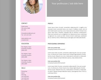 "Resume template 4 page | CV template + cover letter for MS Word | Instant digital download | Professional template | ""Amy"""