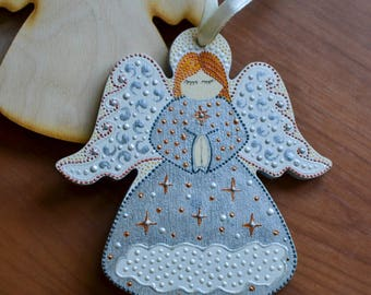 Wooden angel Hand painted angel Сar accessories Golg  Girl Wood toy Baby room  Zipper Charms gifts for children first fathers day