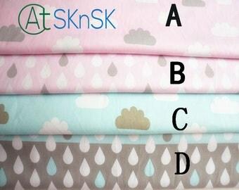 Free Ship 50*160cm/piece DIY Sewing Fabric Raindrops Clouds Pattern Twill Cotton Fabric Bedding Fabrics Baby Clothes Fabrics