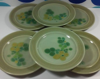 Franciscan Earthenware-Pebble Beach Design-Mid Century Stoneware- 6 Salad Plates