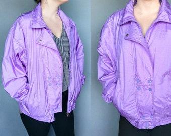 purple rain / 1980s lavender purple zip up windbreaker by lavon / large xl