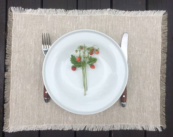 Gray Placemat Set, Rustic Linen Placemats, Handmade Fabric Placemats, Gift for Mom, Gift for Grandmother, Country House Placemats