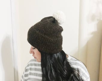 Knit Double Brim Slouchy Beanie x with Pom Pom x in BROWN