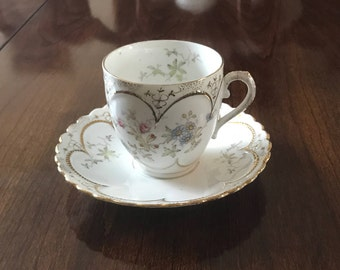 Painted Antique Teacup and Saucer