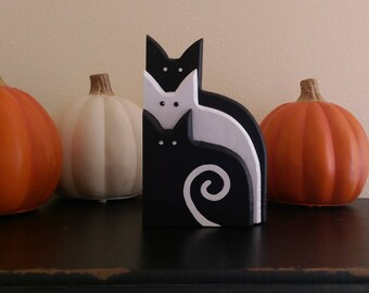 Cat Trio with Rhinestone Eyes    Halloween Decor    Black and White Wooden Cat Ornament
