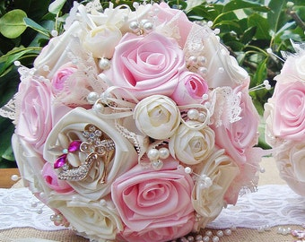 Pink Fabric bridal Bouquet Pearl Baby pink/cream/ivory custom