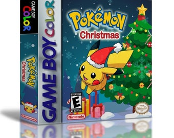 Pokemon Christmas Version (Cart + Case) Game Boy Color GBC Homebrew Hack Custom Fan Made - Save Battery Works