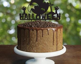 Halloween moon Cake Topper, bats cake topper, zombie party decoration, crow cake topper, halloween night, halloween party, full moon