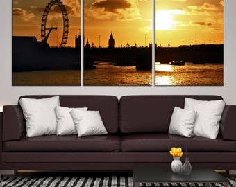 Extra Large Wall Art London City Canvas Print, Amazin View of London Eye at Sunset Canvas Print, London Cityscape Canvas Art, Interior Decor