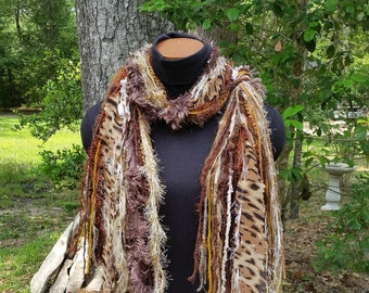 Fringie Leopard Scarf in Earth Tones: Brown, Tan, Ivory, Copper, Gold; Shabby Chic Fringie Scarf; Multi-textured Scarf