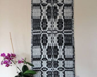wall decoration black and white handwoven, pure new wool, wall hanging traditional patterned, swedish pattern,handwoven tapestry black-white