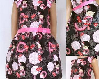 Girl dress with japanese doll prints - grey and pink