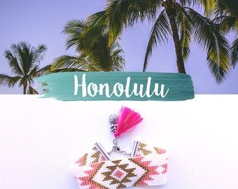 HONOLULU cuff Miyuki beads, white/pink/gold