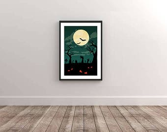 Cemetery on Halloween Night Ready to Print Poster - Digital Wall Art Download