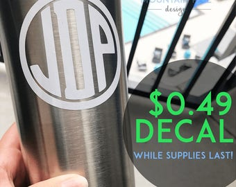 ON SALE! Circle Monogram Decal | Car Decal, Decal, Yeti Decal, Name Sticker, Laptop Decal, Monogram Sticker, Cheap Decal, Vinyl Decal
