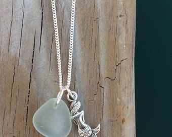 Mermaid and Hawaiian Beach Glass Necklace, genuine beach glass jewelry, mermaid jewelry, hawaiian jewelry, ocean themed jewelry
