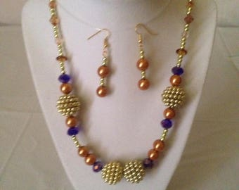 The Gold Berry Necklace Earring Set