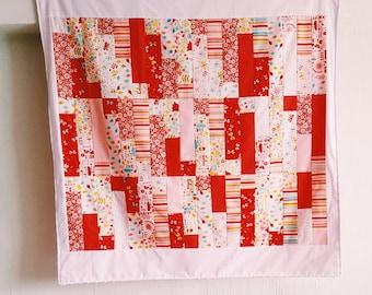 Handmade Scarlet Steps Patchwork Baby Blanket, Summer Quilt, Minky Dot Blanket, Newborn Gift